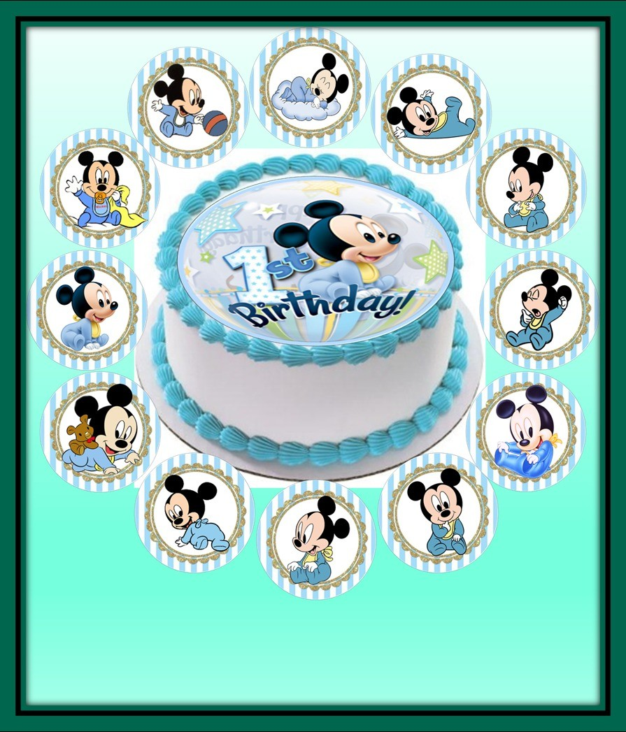 Tremendous Baby Mickey Mouse Mini Cake 12 Cupcakes At 88 80 Per Cake Personalised Birthday Cards Sponlily Jamesorg