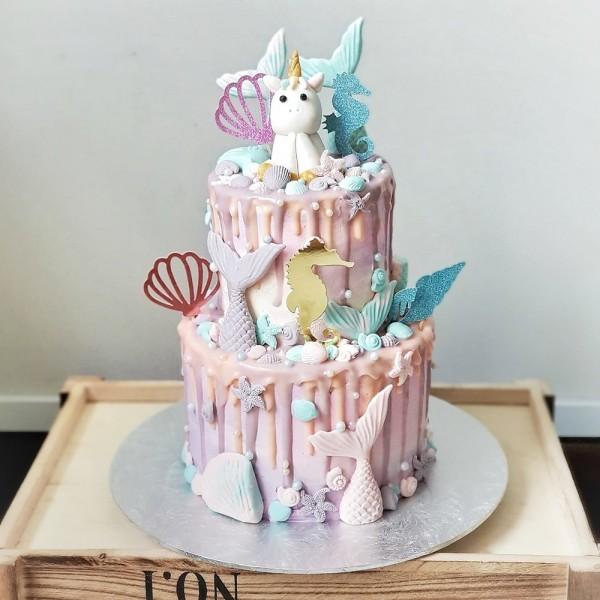 Kids Customised Cakes Unicorn Mermaid Dripy