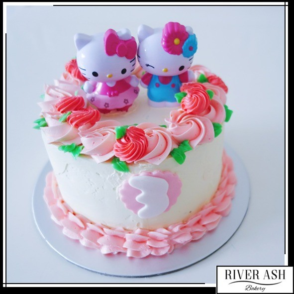 Hello Kitty Floral Cake At 6500 Per Cake River Ash Bakery