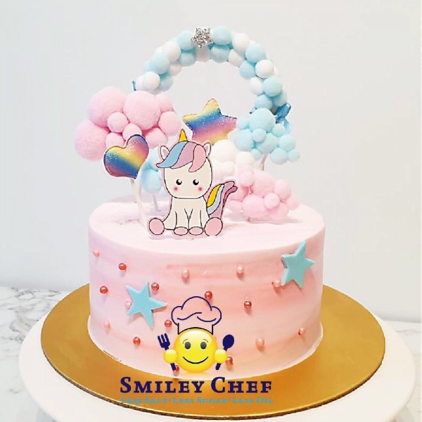 Customized Fresh Cream Cake Unicorn Design At 69 00 Per Cake Smiley Chef