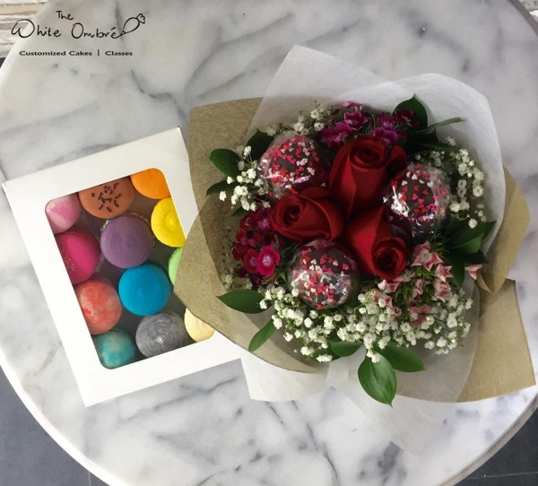 Macarons and Cake Pop Flower Bouquet at $72.00 per Item | The White ...